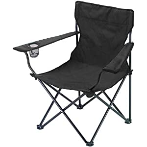 41X1lethddL. SS300  - Folding Camping Fishing Chair Seat With Armrest and Cup Holder Foldable Beach Garden Outdoor Fishing Furniture in Blue Green or Black (Black)