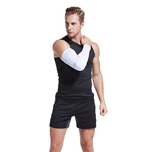 Veni Masee Armmanschette mit Ellenbogenpolster für Sport zum Schutz / Unterstützung, 1 Stück White(2Pieces)