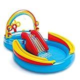 Festnight- Aufblasbarer Pool Rainbow Ring Play Center Planschbecken für Kinder 297x193x135cm