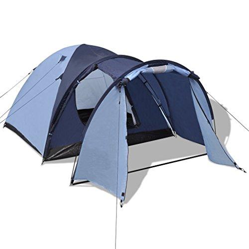Festnight Tragbar 4-Personen Zelt Tent Outdoor Trekkingzelt Campingzelt mit Tasche für Wandern Camping Picknick - Blau