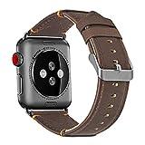 XGUO Cinturino per Apple Watch 44mm 42mm,Design Unico Premium in Vera Pelle iWatch Band Strap Replacement con Fibbia in Metallo Secure Silver [Marrone]