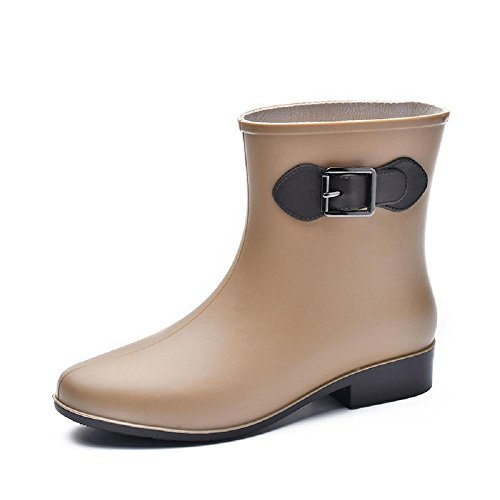 moda breve cilindro fermaglio Ms. stivali da pioggia Khaki