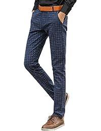 Pantaloni da Uomo Elasticizzati Pantaloni Slim Giovane Pantaloni Fit da  Uomo Casual da Lavoro Pantaloni A d24b03af6a1