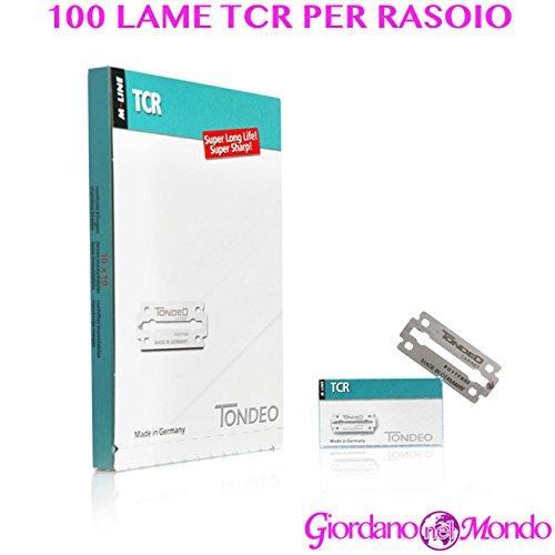100 lames Cour Tondeo TCR de rechange pour rasoir à barbe professionnelle pour barbier