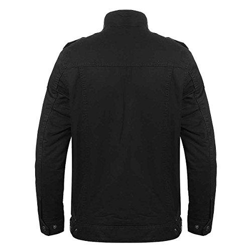 PODOM Homme Automne Hiver Col Roulé Manches Longues Coton Epais Manteau Veste Blouson Parka Jacket Trench Noir