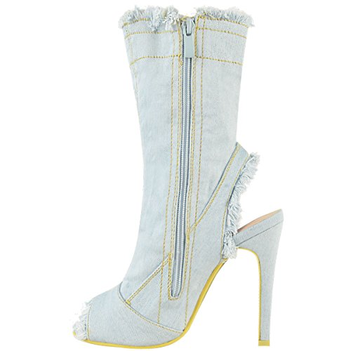 Damen Peeptoe-Stefeletten - Denim mit Stretch - hoher Stiletto-Absatz Denim Hellblau