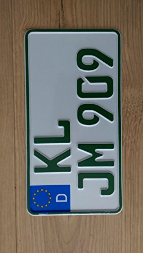 Traktor/Agrar KFZ-Kennzeichen EU 255 x 130 mm, reflektierend/grün für steuerbefreite Fahrzeuge, mit Wunschkennzeichen