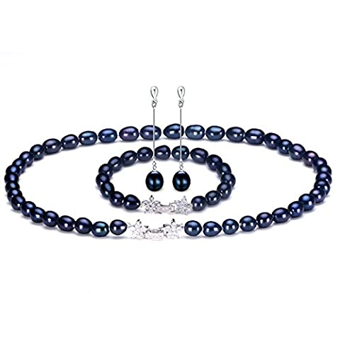 HENGSHENG 8-9 mm Freshwater Cultured Oval Black Pearls Strand Necklace