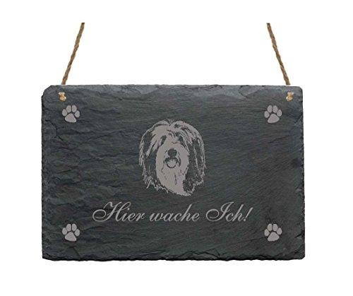 Schiefertafel « Hier wache ich - BEARDED COLLIE » Schild mit Hunde Motiv - Haus Dekoschild Dekoration Türschild Haustür Tür Tor Garten Terrasse