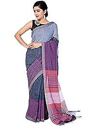 Tanya Greyish Blue And Pink Handloom Khadi Saree With Thread Weave And Multiple Stripes On Pallu
