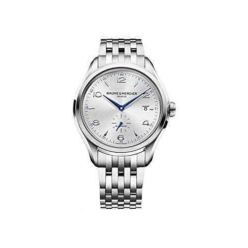 Baume & Mercier MOA10099Clifton para hombre reloj redondo Dial de plata caja de acero inoxidable automático movimiento