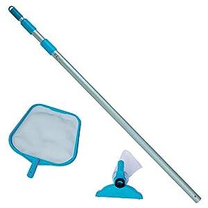 Intex-28002 Kit Pulizia per Piscine Fino a 488 cm di Diametro, Colore Grigio/Blu, 28.58 x 93.98 x 10.16 cm, 28002