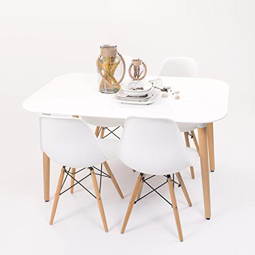 Conjunto de Comedor de diseño nórdico NORDIK-MAX con Mesa lacada Blanca de 130x80 cm y 4 sillas (Blanco)
