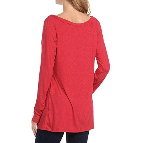 T-shirt Donna,LandFox Festivo Natale Donna Renna Camicette Maglietta Natale Lungo Manica Top Rosso