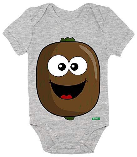 HARIZ Baby Body Kurzarm Kiwi Lachend Früchte Sommer Plus Geschenkkarten Bleistift Grau 0-3 (Keine 2 Bleistift Kostüm)