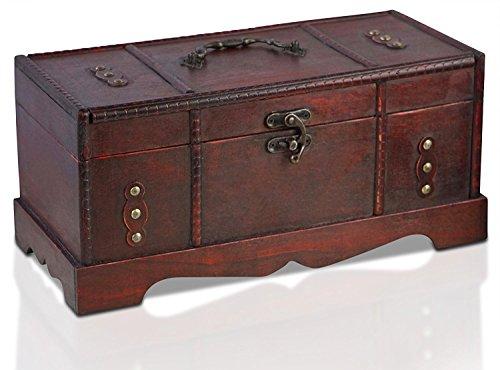 Brynnberg - Caja de Madera Cofre del Tesoro Pirata de Estilo Vintage, Hecha a Mano, Diseño Retro 37x17x17cm