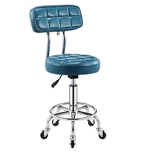 Mena Swivel Chair Kunstleder Küche Frühstück Bar Stuhl mit Rückenlehne, Extra dick 10cm Polsterung höhenverstellbar 5 Rollen, Arbeitshocker, Beauty Roller Hocker (Farbe : Sky Blue, größe : 44-56cm) -