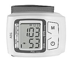 AEG BMG 5610 Blutdruckmessgerät, vollautomatische Blutdruck-und Pulsmessung am Handgelenk, 3-Werte-Anzeige, Arrhytmie-Erkennung, 2x60 Speicherplätze, LCD-Display