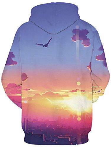 Idgreatim Unisex Kapuzenpullover 3D Bedruckte Tunnelzug Pullover Swearshirt Mit Taschen Gegenüber Sonne