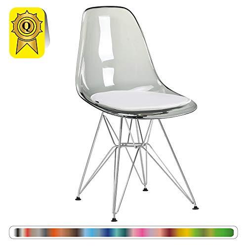 Decopresto 1 x Chaise Design Scandinave Retro Transparent Gris Pieds Acier INOX Chrome DP-DSR-TG-1P