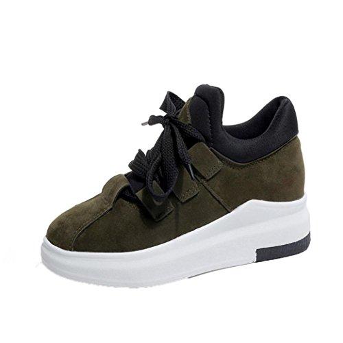 Sneakers Damen Winter Btruely Mädchen Plateauschuhe Mode Freizeitschuhe Schuhe Sportschuhe Damen Laufschuhe (38, Grün) (Über Die Knie-reißverschluss-boot)