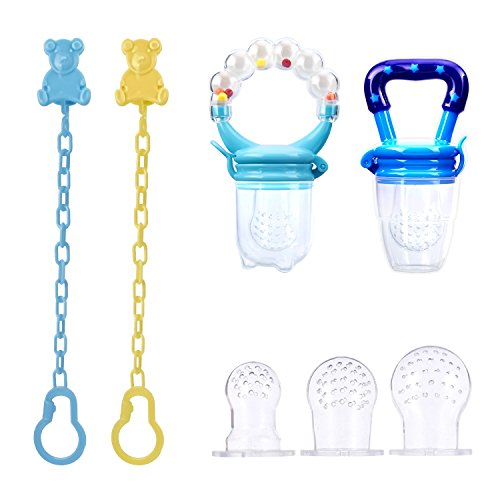PChero 2pcs Baby Feeder Pacifiers - One with Ringing Handgrip - con clips para chupete y 3...