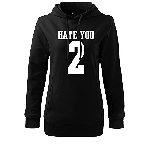 Damen hate you 2 Hoodie Damen Sport Freizeit Tank Shirt Ärmellos von OwnDesigner mit Aufdruck Zip Hoodie Female (346-S 408-Schwarz-L) (Frank Fleece Paul)