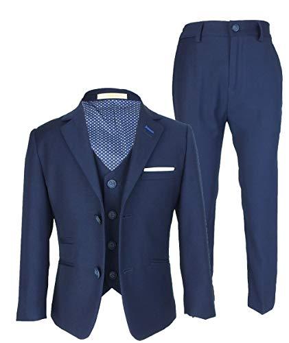 Jefferson Designer Cavani Slim Fit Hochzeitsanzug für Jungen 3 Stück Navy Blau 8 Jahre