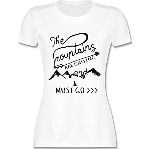 Wintersport - The Mountains Are Calling - M - Weiß - L191 - Damen T-Shirt Rundhals