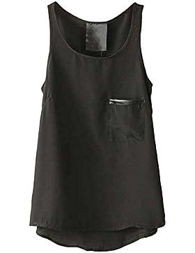 Camiseta Sin Mangas Para Mujer Suelto Gasa De Bolsillo Tops Chaleco Negro XXL