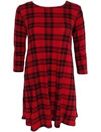 Damen Kleid Rot Tartan Muster Langarm Jersey Stretch Swing Kleid 44-54