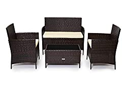 CosmoLiving Rattan Garden Furniture Set Patio Conservatory Indoor Outdoor 4 piece set table chair sofa (Brown)