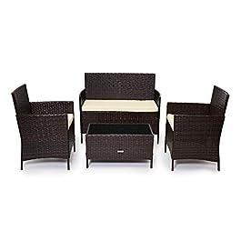 Ensemble de meubles de jardin en rotin pour véranda ou terrasse. Intérieur ou extérieur. Lot de 4fauteuils, un canapé, une table