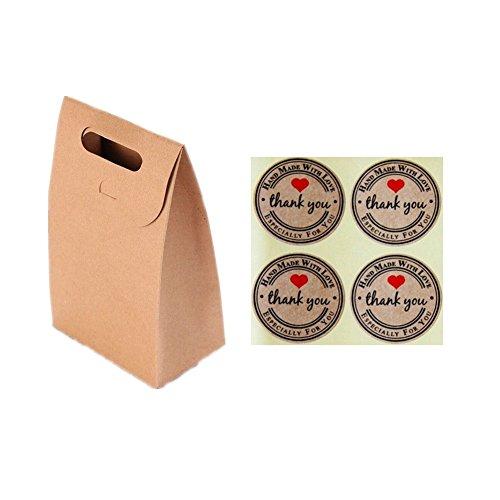 EQLEF® 10 pezzi Brown Kraft sacchi di carta di cuocere i biscotti sacchetto spuntino noci sacchetti dell