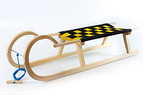 Holzfee Hörnerschlitten 120 cm mit Leine Schlitten Holz Kinderschlitten Gurtsitz Schwarz Gelb