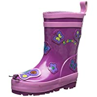 Kidorable Original Branded Purple Butterfly Rubber Rain Boots, Wellies for Little Girls, Boys, Children, Toddlers
