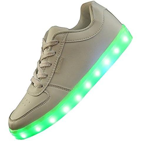 Zapatillas de deporte de carga de USB - SODIAL(R)zapatillas de carga de USB con LED de siete colores para mujer de color blanco 36