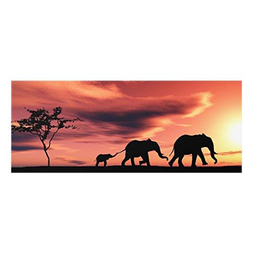 Bilderwelten Panel antisalpicaduras de cristal - Savannah Elephant Family - Panorámico, panel...