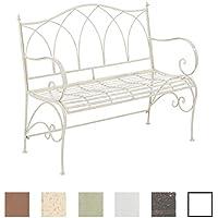 CLP Panca da giardino ORKUN, in stile rustico, in metallo laccato, 107 x 50 cm, fino a 6 colori a scelta crema antico