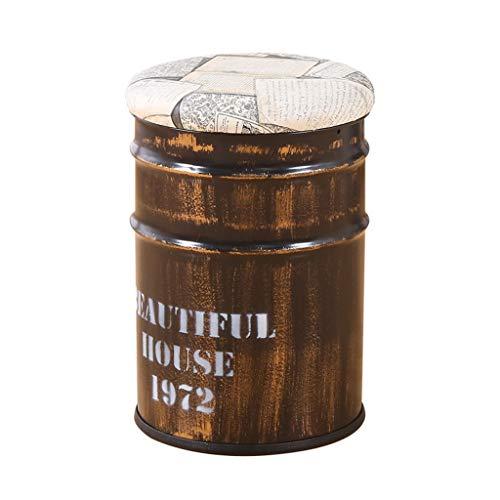 WUDAXIAN Retro Barhocker Lagerung Schmiedeeisen Ölfass Gepolsterte Lack Bank Schmiedeeisen Alte Bank Stuhl Retro Industriestil Runde (Farbe : #1)