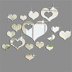 Idea Regalo - Ardisle 16 pezzi, a forma di cuore per piastrelle, Specchio adesivo da parete Art Craft-Adesivi in stile veneziano, da bellissima