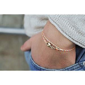 Dezentes Armband für Herren – edles Wickelarmband für Männer Minimalistisch – stufenlos verstellbar mit Karabiner-Haken Gold (Retro)
