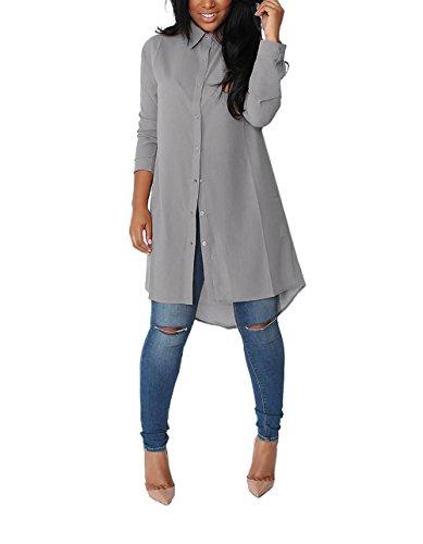 Yidarton Damen Hemdkleid V-Ausschnitt Button Chiffon Langarm Slim Casual Blusenkleid Minikleid Bluse Tops