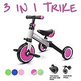 KORIMEFA 3 in 1 Multi Dreirad ab 1 Jahre Laufräder Laufrad Kinderdreirad Dreirad Lauffahrrad für Kinder CE-Zertifizierung für 10-36 Monate Mädchen Junge (Dunkelrot)