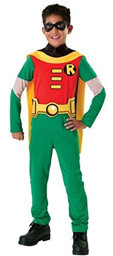 Fancy Me 4 Stück lizensiert jungen Robin Batman Overall Superheld büchertag Halloween Kostüm verkleiden Outfit 3-10 Jahre - Grün, Grün, 8-10 Years (Batman Und Robin-halloween-kostüm)