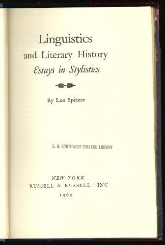 Linguistics and literary history;: Essays in stylistics