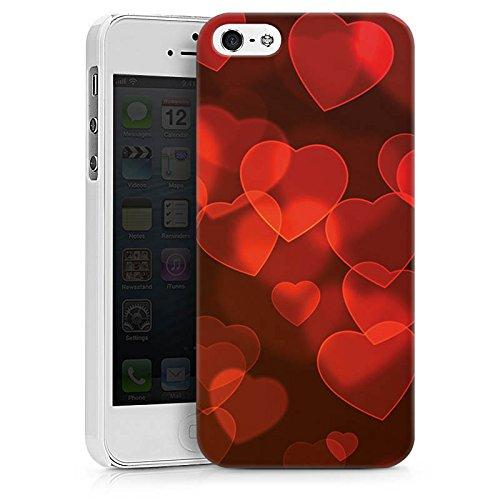 Apple iPhone X Silikon Hülle Case Schutzhülle verblasste Herz Muster Rot Hard Case weiß
