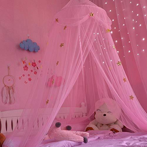 Zelt Haus für Mädchen Moskitonetz Neue Kinderzimmer Kuppel Zelt Baldachin Bett Volant Zelt mit blauen rosa weißen Sternen Traumzelt Zimmerdekoration Spielzelt (Prinzessin Baldachin Bett Kleinkind Mit)