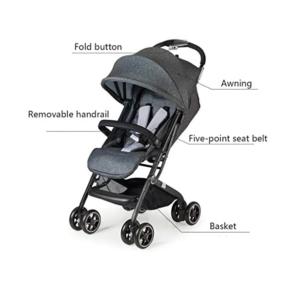 MU Comfortable Pushchairs Collapsible Stroller,One-Hand Brake, Can Sit Reclining Baby Pushchair Stroller, with Storage Basket Four-Wheel Shock Absorber Lightweight Folding Buggy Stroller,Rose red Mu The adjustable 5-point safety harness has comfortable shoulder pads, The sturdy frame has a wider seat which results in a more comfortable ride for your child The stroller can be easily folded, smaller and more portable; the adjustable backrest angle can be seated or lying down, as well as a large shopping basket and caster Comfortable sleep, eight-wheel shock absorber, built-in spring, adapt to all kinds of road conditions, baby ride more comfortable 4