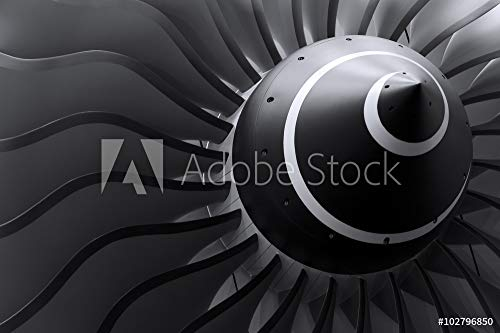 druck-shop24 Wunschmotiv: Turbine Blades of Turbo Jet Engine for Passenger Plane, Aircraft Concept, Aviation and Aerospace Industry #102796850 - Bild auf Leinwand - 3:2-60 x 40 cm / 40 x 60 cm (Modell Turbine Blades)